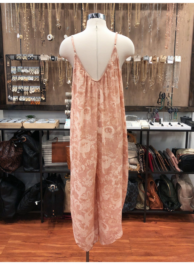 IJ8732O BLURRY FLORAL CAMI JUMPSUIT