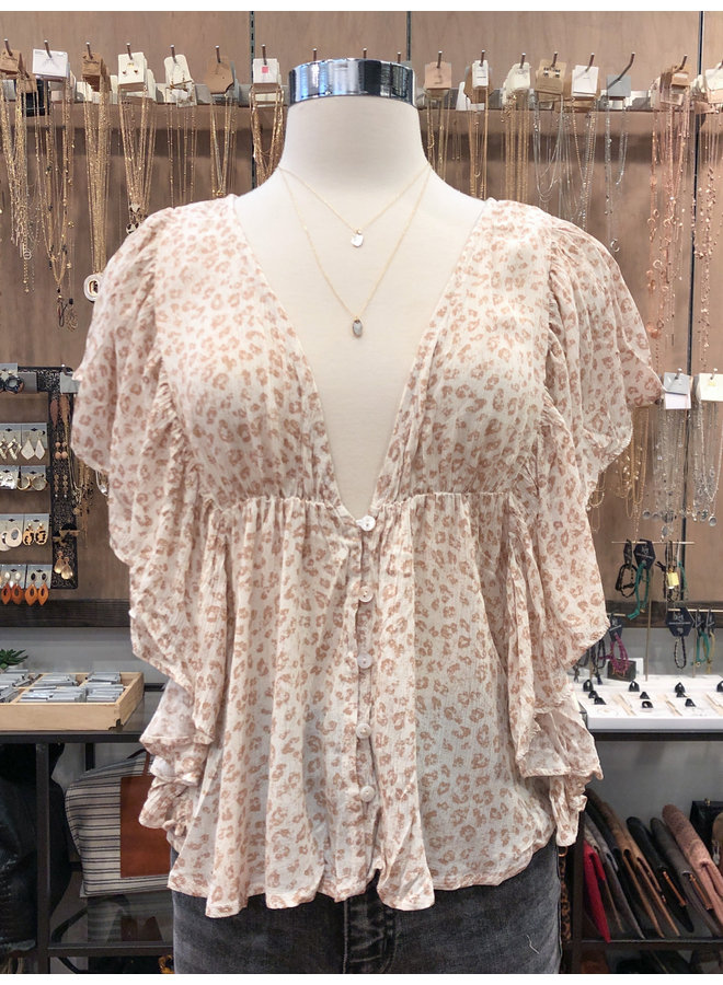 IT30346F FADED ANIMAL BABYDOLL TOP