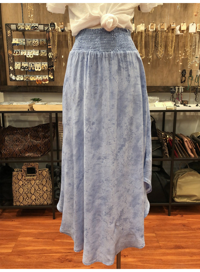 S16762Z CLOUD PRINT SMOCKED MAXI SKIRT