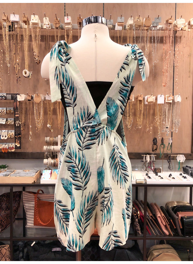J10163 PALM LEAVES OVERALL ROMPER