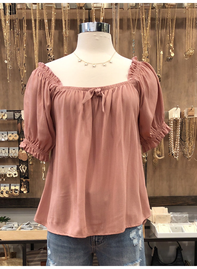 T10481A SOLID BABY DOLL TOP