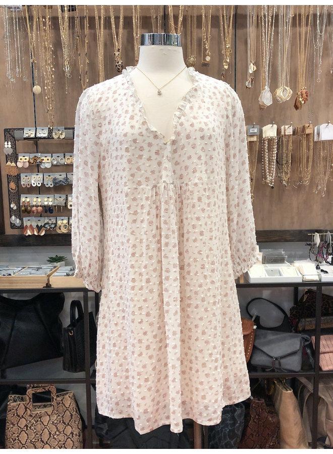 FLORAL SWISS DOT DRESS