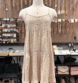 FLORAL BUTTONED TRIM DRESS
