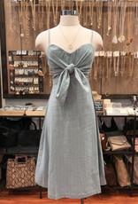 ID7912A STRIPE FRONT TIE DRESS