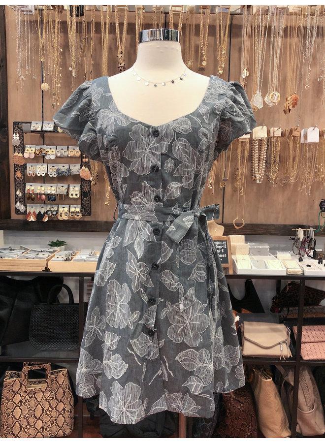 DOODLE FLORAL BELTED DRESS