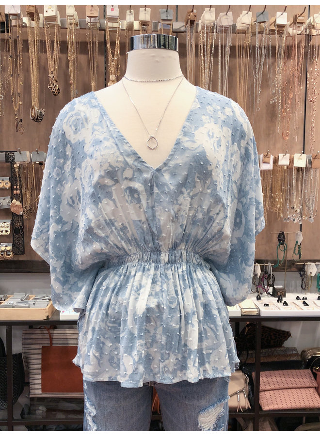 T10495B CLOUDY FLORAL WING SLEEVE TOP