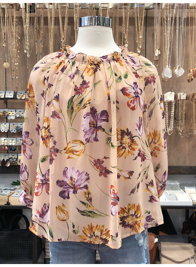 FLORAL RUFFLED NECK BLOUSE