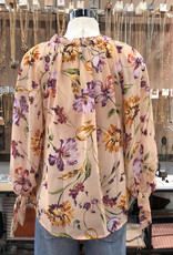 FT4045 FLORAL RUFFLED NECK BLOUSE