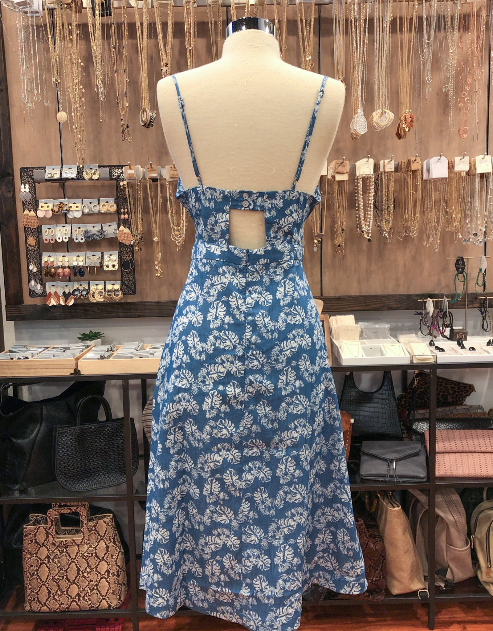 ID7912 FLORAL FRONT TIE DRESS