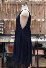 D9694L SOLID V-NECK FULL DRESS