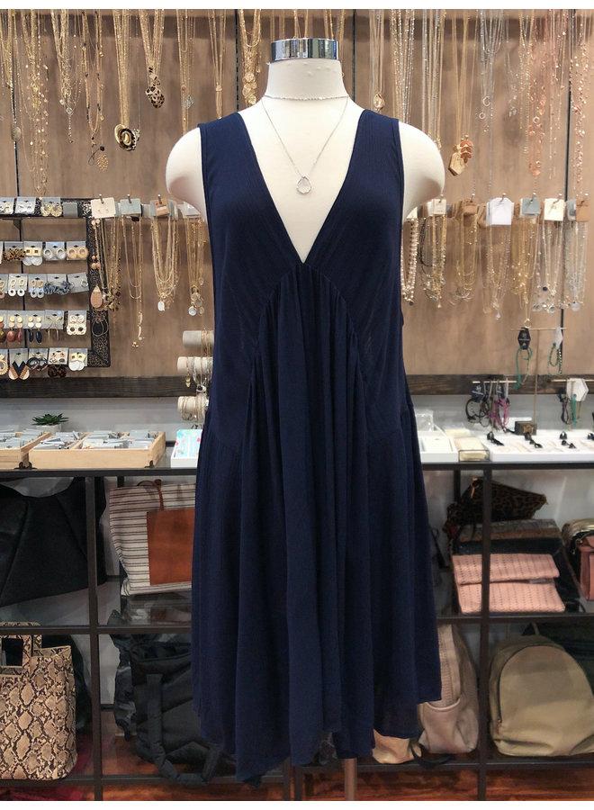 SOLID V-NECK FULL DRESS