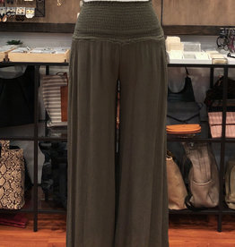 SMOCKED WAIST WIDE LEG PANTS