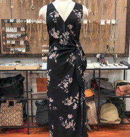 SPACED FLORAL WRAP DRESS