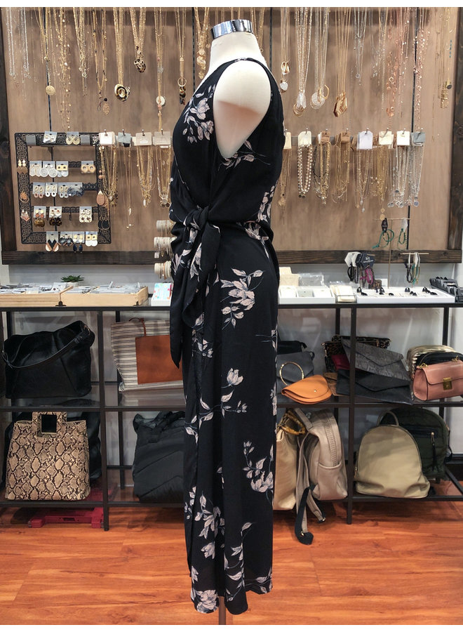 FD4063 SPACED FLORAL WRAP DRESS