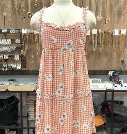 FLORAL PLAID BABYDOLL DRESS