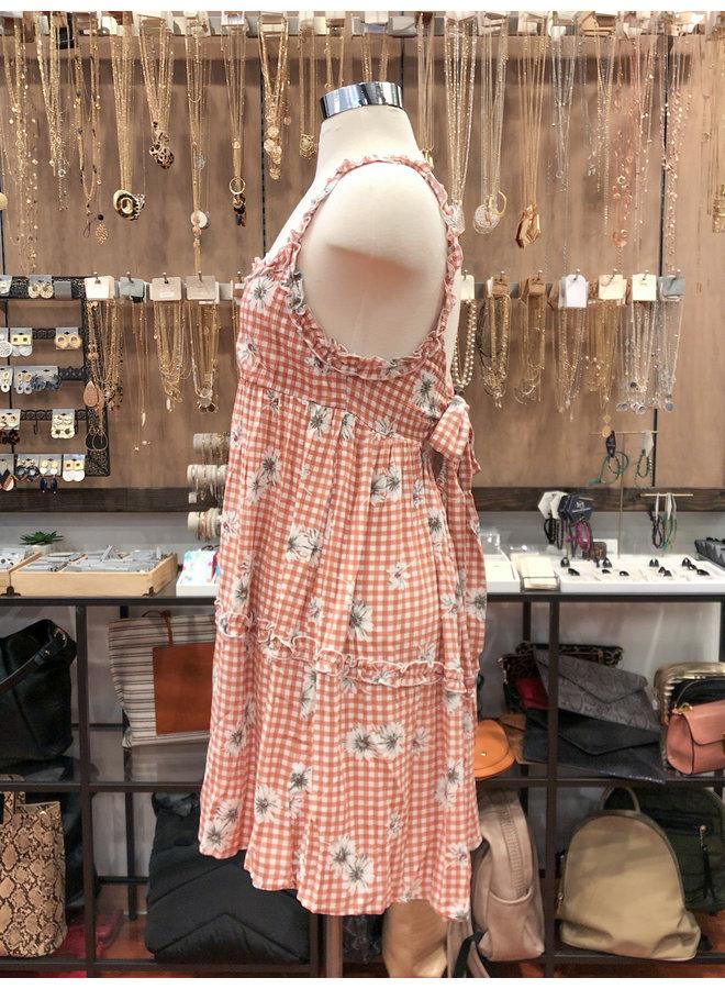 FD3799A FLORAL PLAID BABYDOLL DRESS