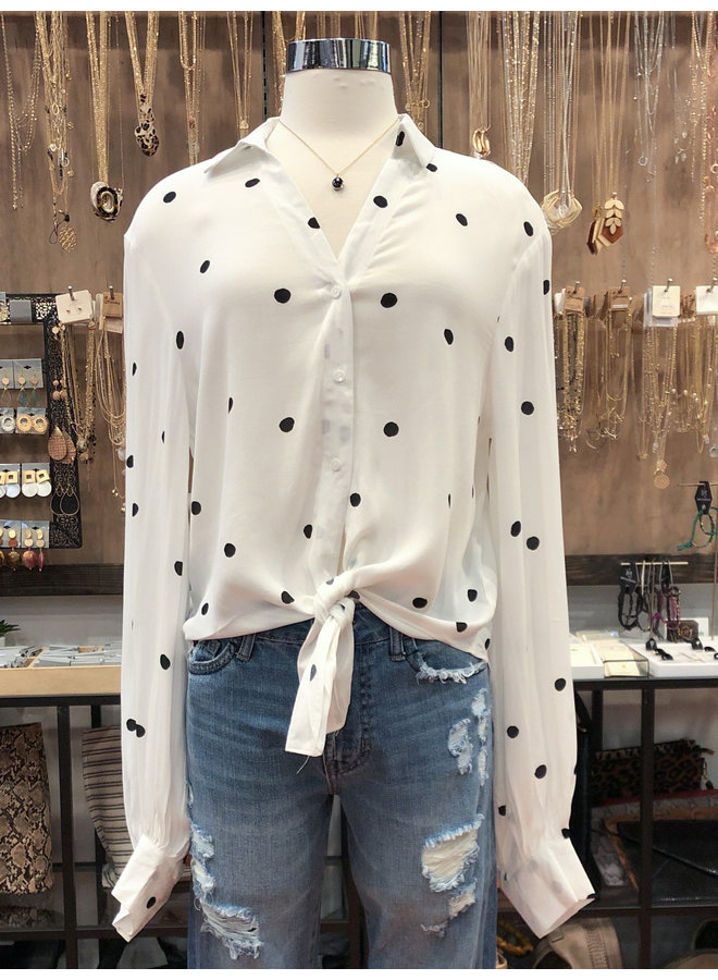 FT2678 POLKA DOT KNOT FRONT TOP