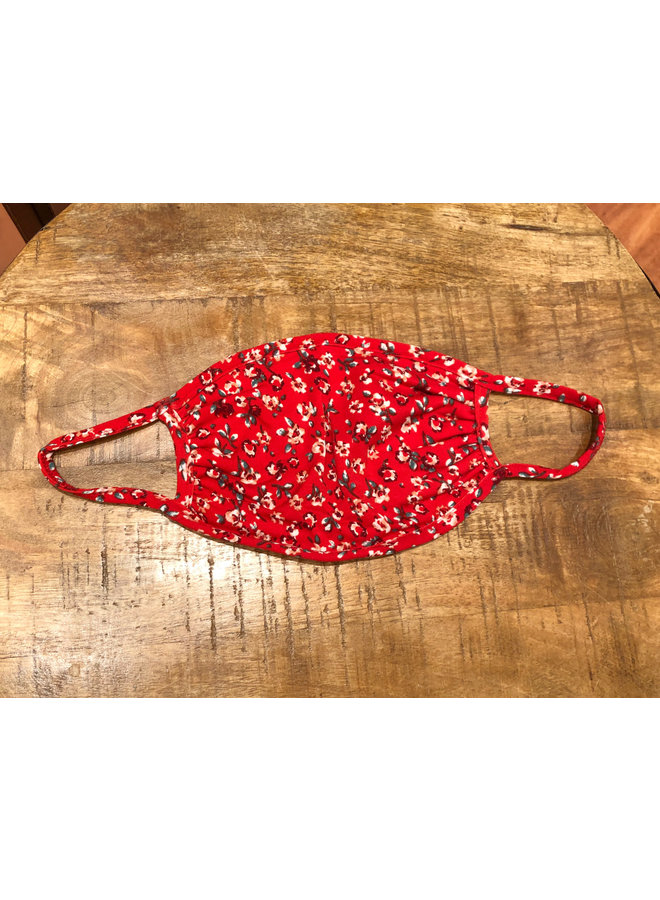 ADULT FACE MASK DITSY FLORAL RED
