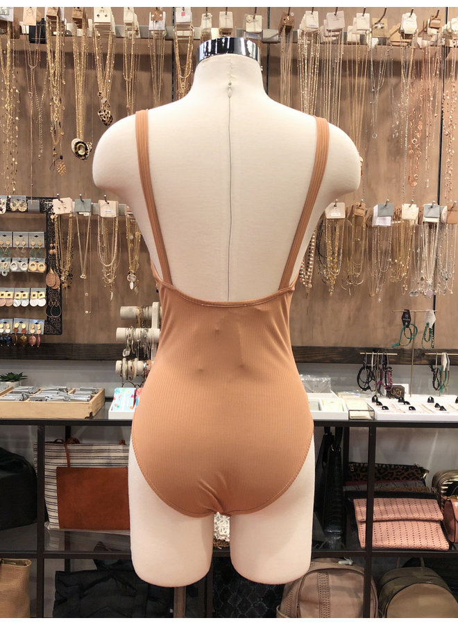 FT3033B RIBBED FRONT KNOT BODYSUIT