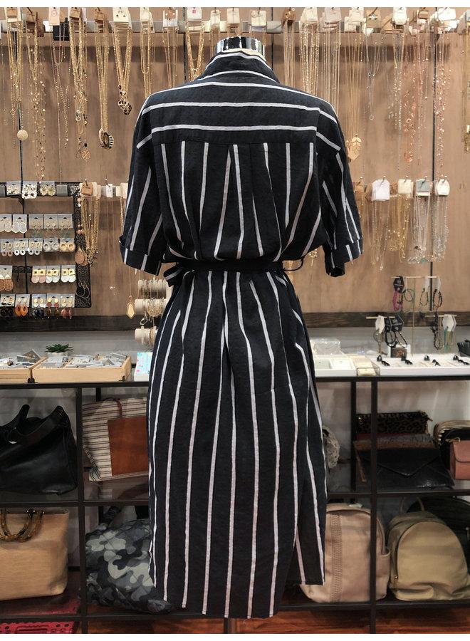 ID7598 STRIPED SHIRT DRESS