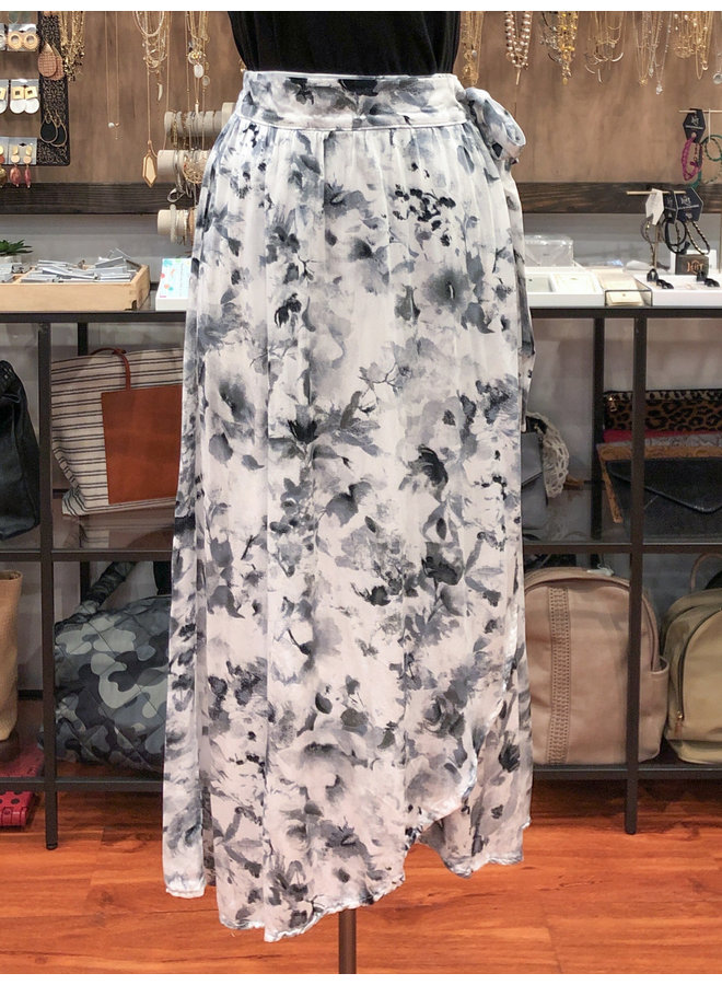 WATER COLOR WRAP MIDI SKIRT