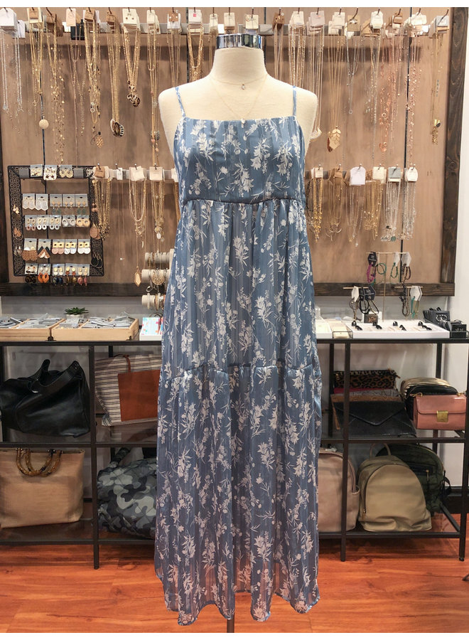 SUNDAY BLUES TIERED MAXI DRESS