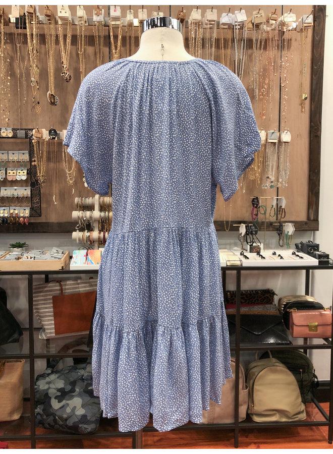 D30597-1D SPOTS SLUB TIERED DRESS