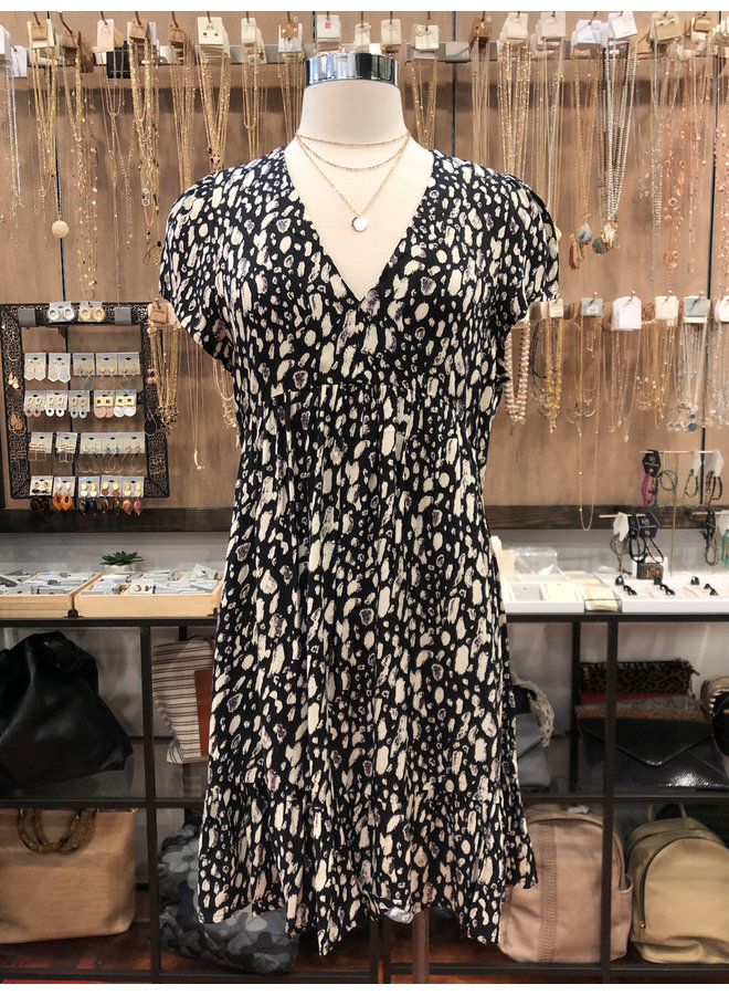 SPOTTED CAP SLEEVE DRESS