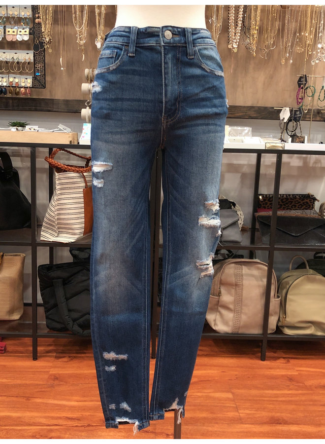 VT1126 HIGH RISE DISTRESSED CROP SKINNY