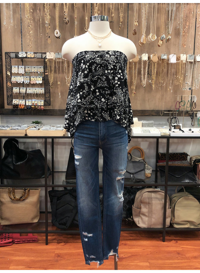 T17420 FLORAL GAUZE TIERED TUBE TOP