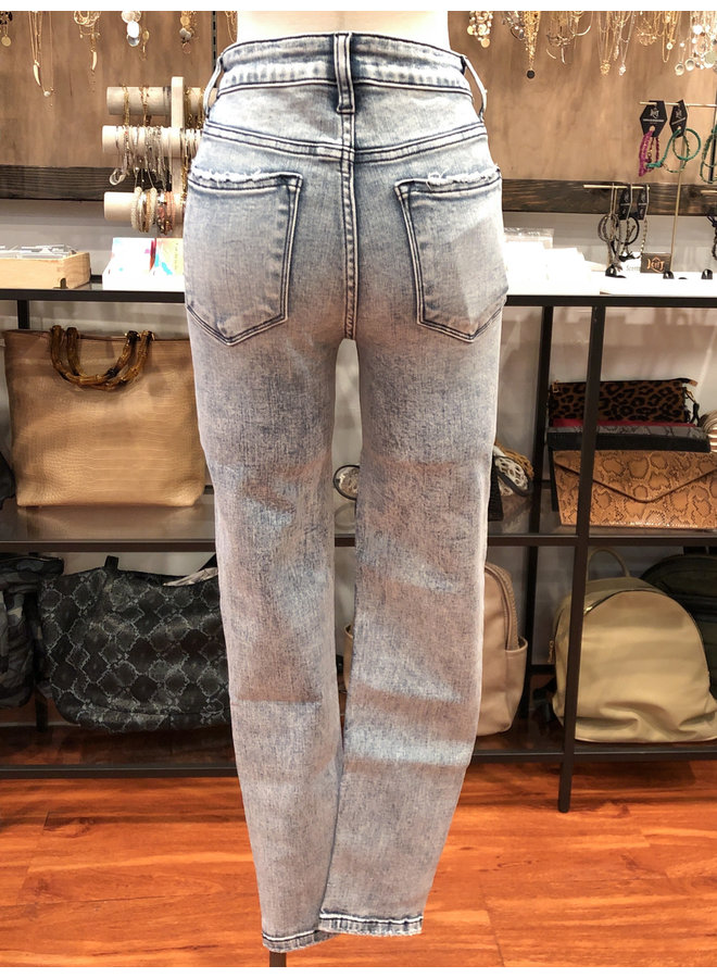 Y3659 HIGH RISE ACID WASH CROP SKINNY