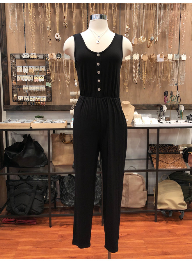 JU17390 BUTTON TRIM TANK JUMPSUIT