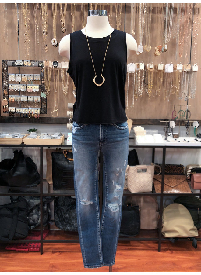 T17364 JERSEY TANK WITH RUCHED BACK