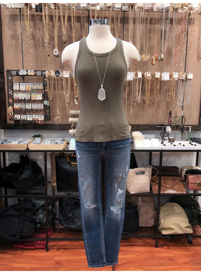 VT716 MID RISE DISTRESSED CROP SKINNY