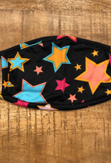 ADULT FACE MASK MULTICOLORED STARS BLACK