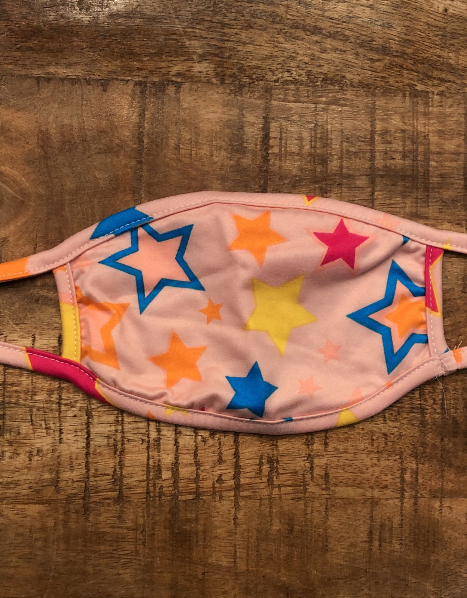 ADULT FACE MASK MULTICOLORED STARS PINK