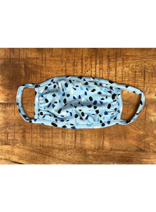 ADULT FACE MASK MULTICOLORED SPOTS BABY BLUE