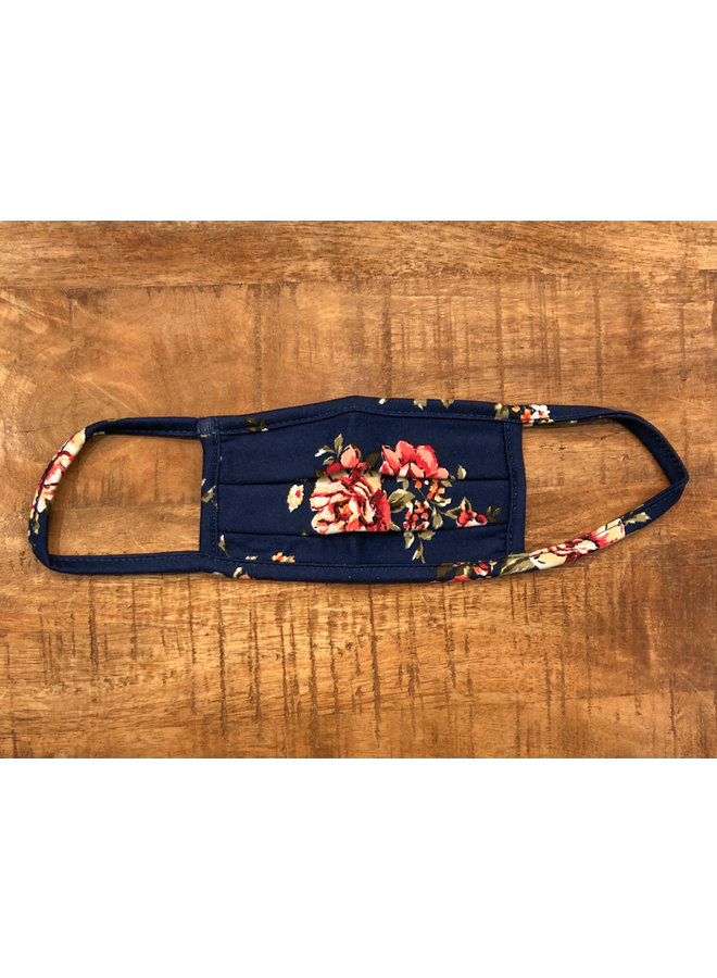 KIDS FACE MASK PLEATED ROSE NAVY