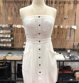 STRAPLESS BUTTON DRESS