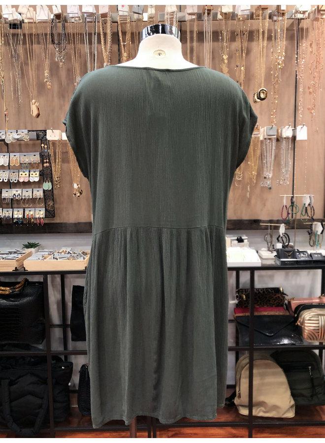 D17425B SHORT SLEEVE BUTTON TRIM DRESS