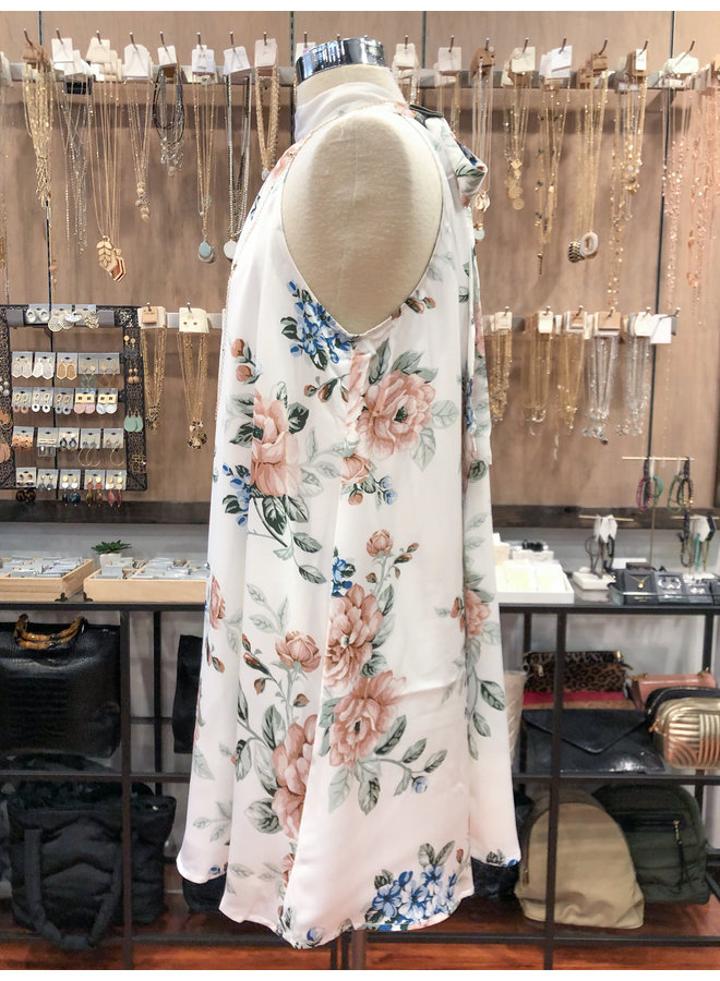 DAE26094HL FLORAL TIE NECK DRESS