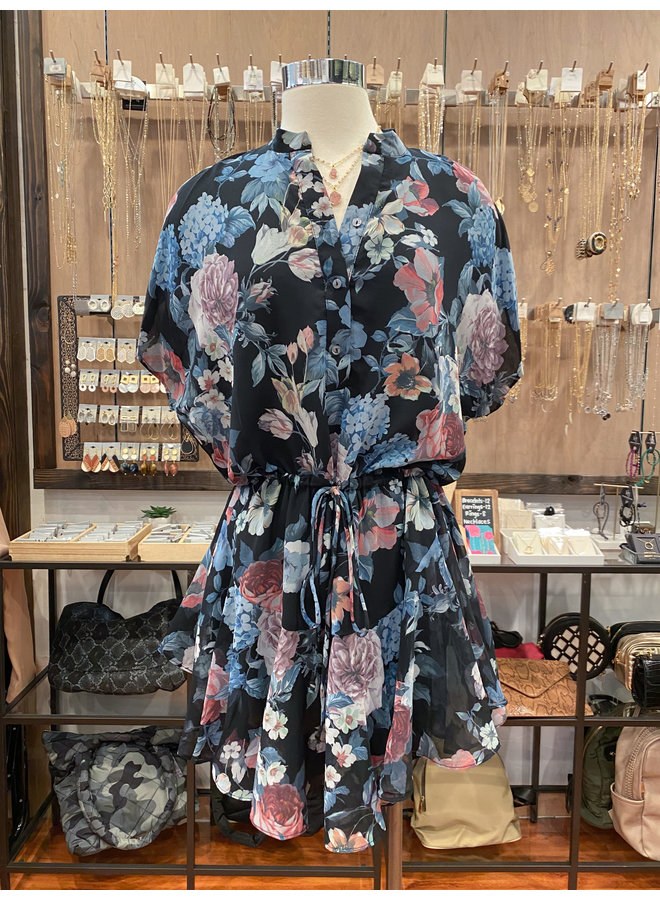 20-252LDH FLORAL RUFFLED DRESS