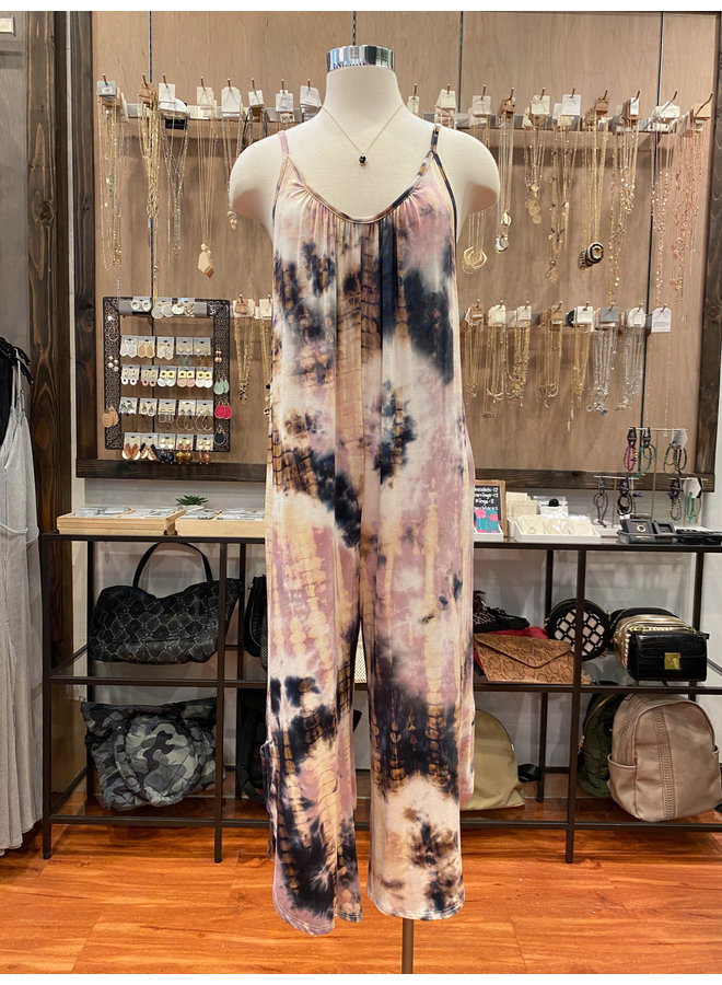 J10220 TIE DYE LOOSE FIT JUMPSUIT
