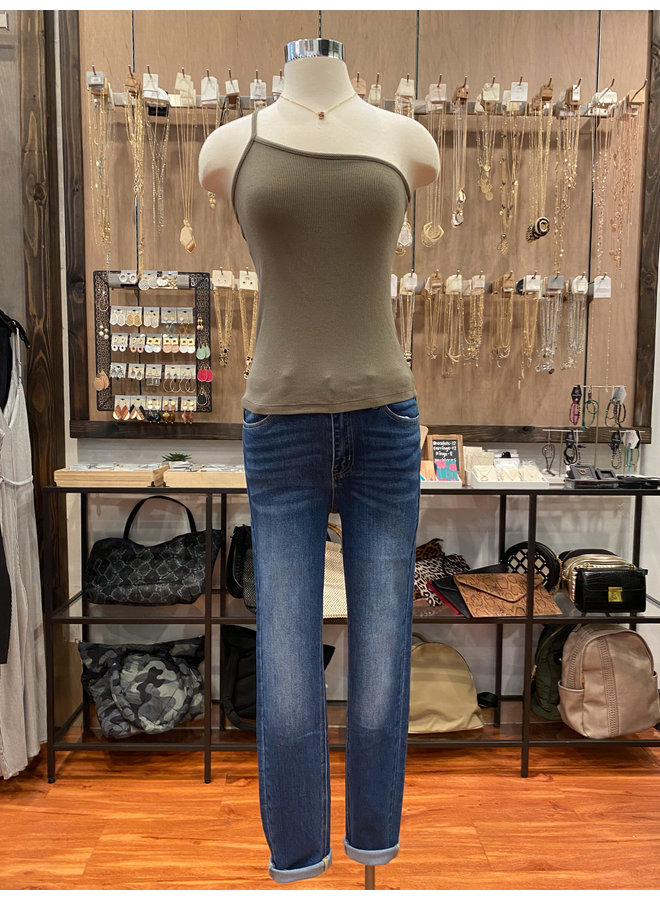 T17447 RIBBED ONE SHOULDER TOP