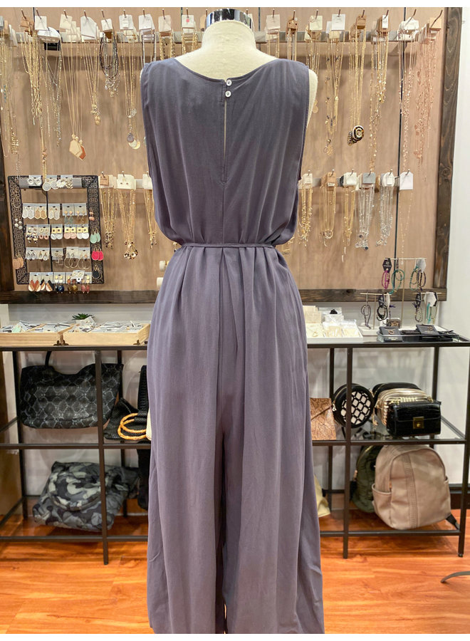 70128-CA PLEATED V-NECK JUMPSUIT