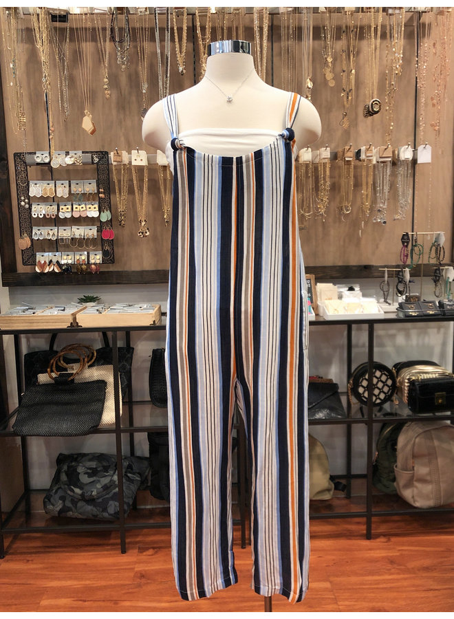 29-384LJH STRIPED OVERALL JUMPSUIT