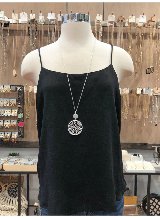 ST39560 SOLID WOVEN TANK TOP