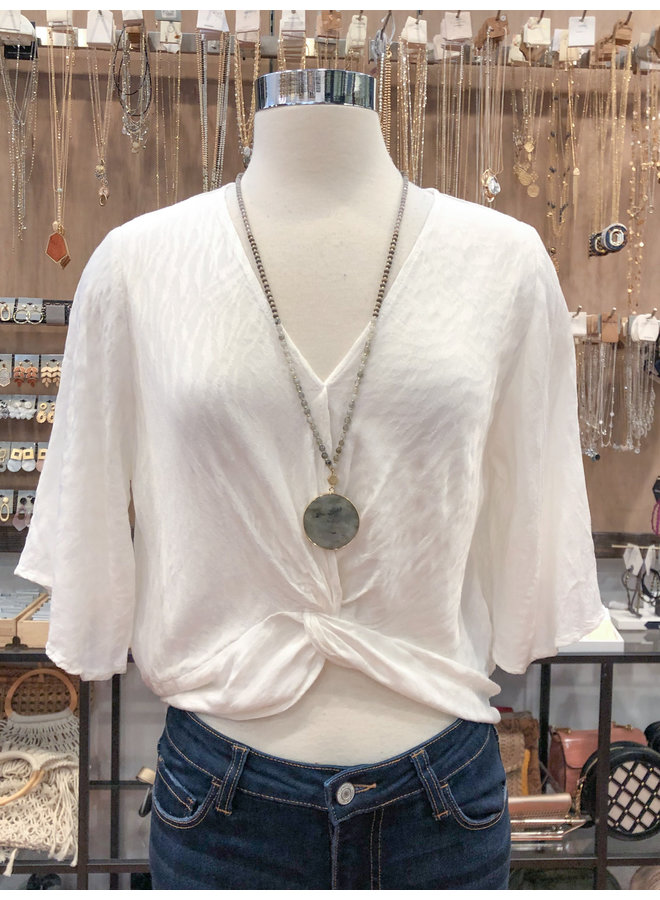 JACQUARD KNOTTED FRONT TOP  *2 colors available*