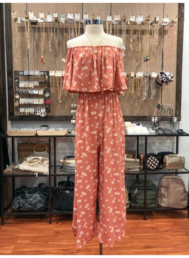 SWEET FLORAL OVERLAY JUMPSUIT