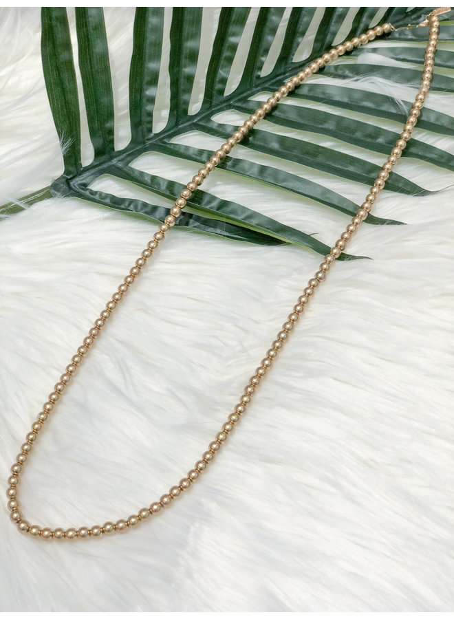 MASK CHAIN LONG- GOLD BEADS
